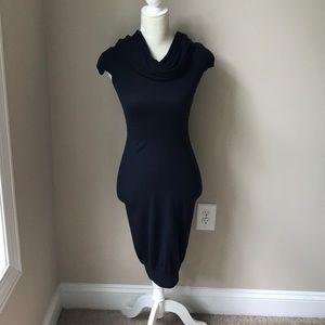 Moda merino wool blue cowlick collar dress.